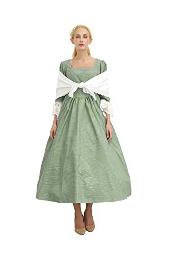 SHANSHAN Woman's Pioneer Costume Colonial Printed Dress Lace Sleeve Prairie Outfit Daily Clothes with Shawl (Green)]()