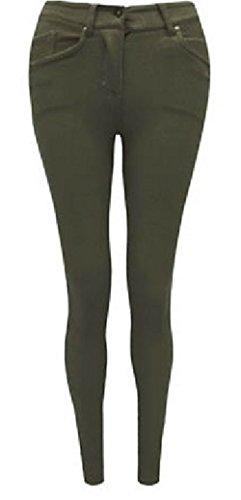 Fashion Oasis Ladies Skinny de colores con cremallera Jeggings elástico pantalones vaqueros Leggings tamaños 8101214161820, también en grandes tamaños 222426 Caqui