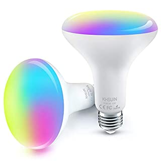[2020 Upgrade] Smart Light Bulb,Color Changing Light Bulb Compatible with Alexa and Google Assistant(No Hub Required),2.4G WiFi E26 13W(100w Equivalent) BR30 Smart Bulb,2 Pack
