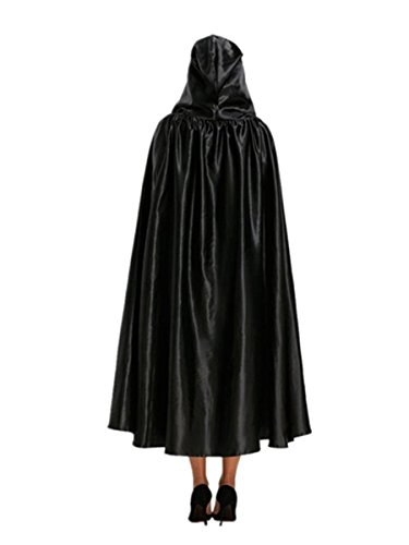 Voberry® Halloween Adult Hooded Unisex Cape Cloak Devil Wicca Robe Outwear (Black)