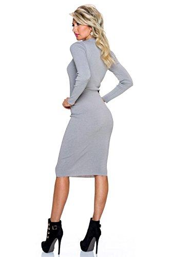 Fashion - Vestido - ajustado - Básico - Manga Larga - para mujer gris