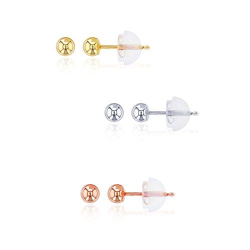 Decadence Women's 14k Gold WYR 3mm Tricolor Ball Stud Earrings Set ()