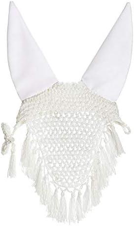 Rider's International by Dover Saddlery Crochet Fly Bonnet with Tassels, Size Horse, White