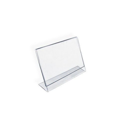 Azar 112740 3-1/2-Inch by 2-1/2-Inch Horizontal Slanted L-Shape Acrylic Sign Holder, 10 ()