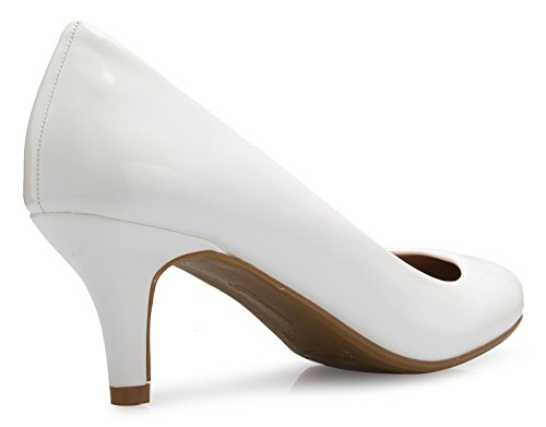 Classic Comfort Heel Mid Toe Round Women's Pumps Low Dress OLIVIA White Kitten K xfSET