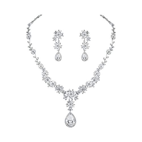 WeimanJewelry Silver/Gold Plated Women Cubic Zirconia CZ Heart Flower Leaf Teardrop Bridal Necklace and Drop Earring Set for Bride Wedding (Silver)