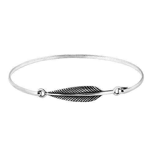 AeraVida Sideways Earthy Feather or Leaf .925 Sterling Silver Link Bracelet