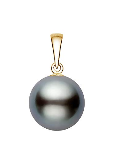 14K Yellow Gold Gray Tahitian Cultured Pearl Pendant AA+ Quality (12-13mm)