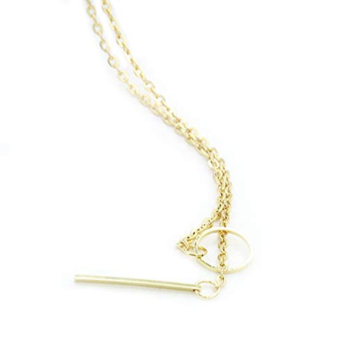 Aukmla Gold Y Lariat Chain Circle Bar Necklace Jewelry Choker for Women and Girls (Gold) ()