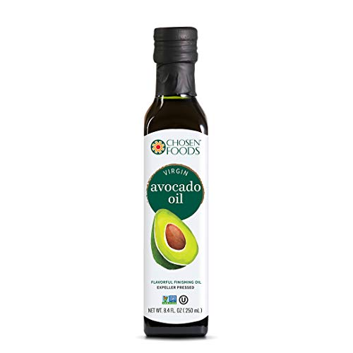- Chosen Foods Virgin Cold Pressed Avocado Oil 8.4 oz., Non-GMO, for Cooking, Baking, Homemade Sauces, Dressings and Marinades