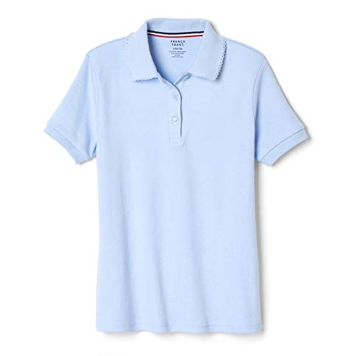 French Toast Little Girls Short Sleeve Picot Collar Interlock Polo, Light Blue,  Small/6/6x