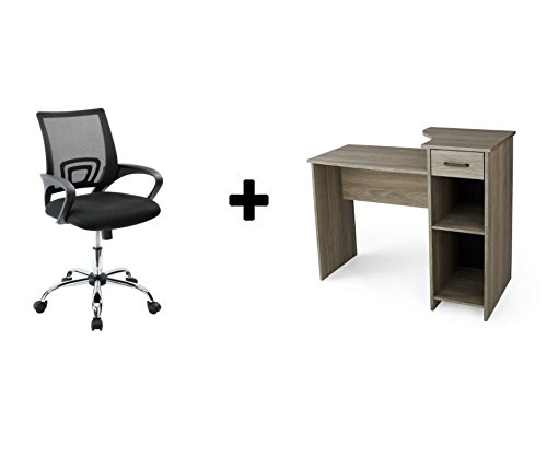 Price comparison product image Mainstays Student Desk - Home Office Bedroom Furniture Indoor Desk - Easy Glide Accessory Drawer (Rustic Oak with Mesh Office Chair)