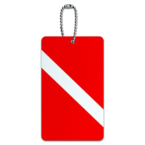 Diving Luggage Tag (Diving Flag - Scuba Diver Dive ID Tag Luggage Card Suitcase Carry-On)