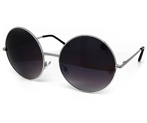 O2 Eyewear 2640 Oversize Vintage Hippie Retro Round Circle Womens Mens Mirror Sunglasses (ROUND, DARK - Oversized Circle Mirror