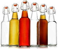 Zuzuro Glass Kombucha Bottles For Home Brewing Kombucha Kefir or Beer - 16 oz Clear Glass Grolsch Bottles case of 6 w/ Easy Swing top Cap w/ Gasket Seal ()