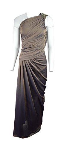 Tadashi Shoji Women's One Shoulder Evening Dress Gown,Brown. (Tadashi Pleated Dress)