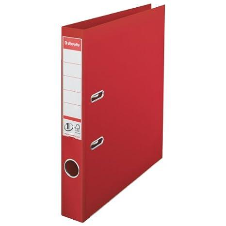 Esselte 48073 - Archivador de anillas (A4, PVC, lomo de 50 mm, 10 unidades), color rojo: Amazon.es: Oficina y papelería