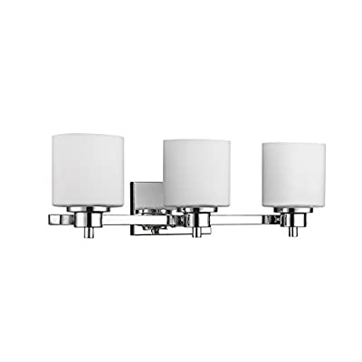 """Chloe Lighting CH821036CM24-BL3 Contemporary 3 Light Chrome Finish Bath Vanity Wall Fixture White Alabaster Glass 24"""" wide"""