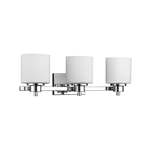 Chloe Lighting CH821036CM24-BL3 Contemporary 3 Light Chrome Finish Bath Vanity Wall Fixture White Alabaster Glass 24