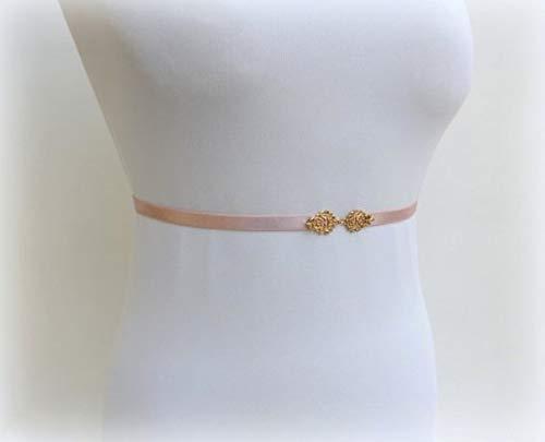 (Antique Pink Elastic Gold Skinny Vintage Wedding Dress Belt )