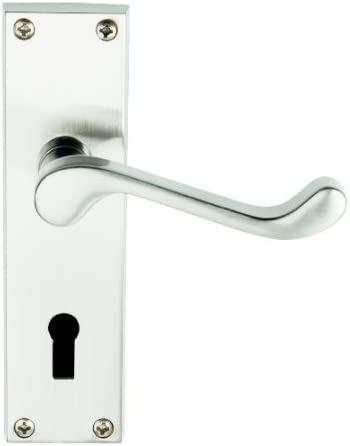 Satin Nickel Premium Quality Victorian Scroll Door Handles Lever Lock