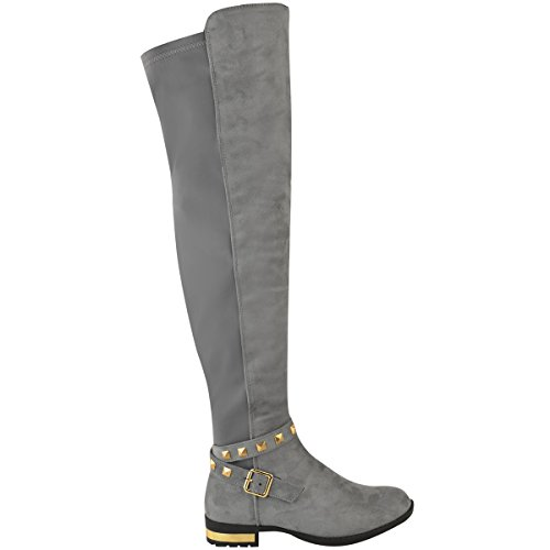 Faux High New Boots Flat Gold The Thigh Stretchy Studded Womens Over Suede Grey Knee Ladies Heel 00Uw6RqT