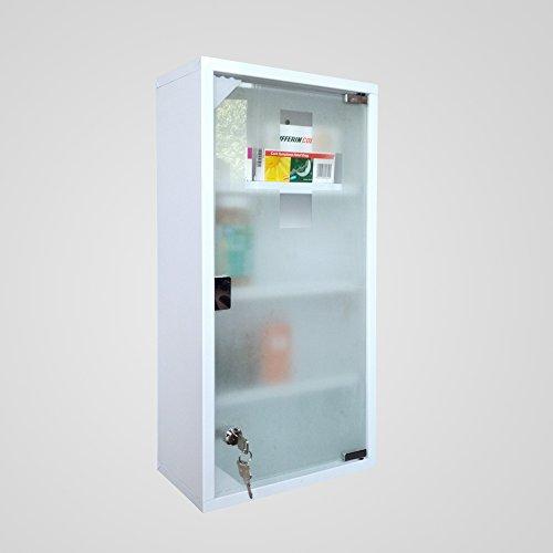 Medizinschrank Arzneischrank Erste Hilfe Schrank mit Schloss in verschiedene Farben/Größe (Weiß, 60x30cm)