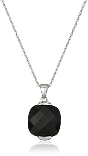 Rhodium-Plated Sterling Silver Onyx Faceted Square Pendant - Faceted Onyx Pendant