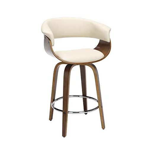 Kitchen OFM 161 Collection Mid Century Modern 26″ Low Back Bentwood Frame Swivel Seat Stool, Vinyl Upholstery, in Ivory modern barstools