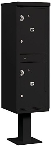 Parcel Aluminum Usps Access Locker - Salsbury Industries 3302BLK-U Outdoor Parcel Locker with Pedestal, 2 Compartments, USPS Access, Black