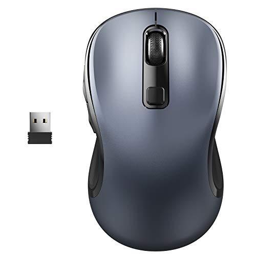WisFox Ratón Inalambrico, 2.4G Ergonómico Antideslizante Inalámbrico Ratón de Computadora Ratón Laptop Ratón USB 6 Botones con Receptor Nano 3 Ajustables de dpi Ratones para Windows,Mac (Gris)