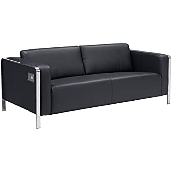 Modern Contemporary Sofa Black Faux Leather  sc 1 st  Amazon.com : pleather sectional - Sectionals, Sofas & Couches