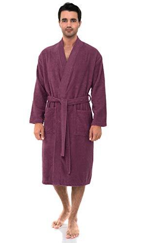 TowelSelections Men's Robe, Turkish Cotton Terry Kimono Bathrobe Small/Medium Bordeaux ()