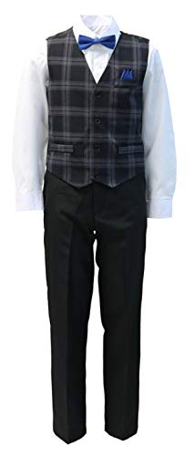 Vittorino Boys 4 Piece Holiday Suit Set with Vest Shirt Tie Pants and Hankerchief, Black/Royal, 7 ()