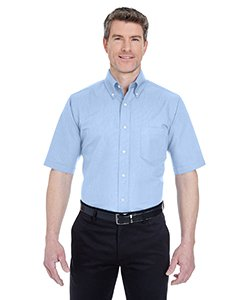 UltraClub Men's Classic Wrinkle-Free Short-Sleeve Oxford (Light Blue) (Large)