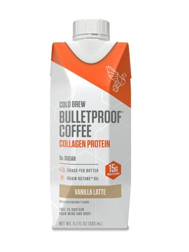 Bulletproof Cold Brew Coffee Plus Collagen, Keto Friendly, Sugar Free, with Brain Octane oil and Grass-fed Butter, (Vanilla Latte) (12 Pack)