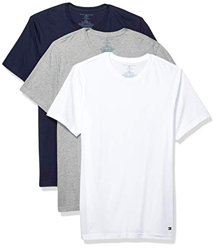 Tommy Hilfiger Men's Undershirts 3 Pack Cotton Classics Slim Fit Crew T-Shirt, Dark Navy/Grey Heather/White X-Large
