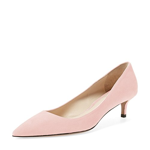 (YDN Women Low Kitten Heel Pumps Pointed Toe Dress Shoes for Office Lady Soft Suede Light Pink 9)