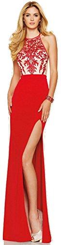 New Ladies Rojo y Nude bordado Bodice vestido de fiesta largo vestido Cruise Prom Cóctel Wear vestido tamaño M UK 10