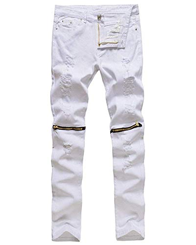 Motard Hommes Élastique Blanc Stretch Skinny Taille De À En Fuweiencore Cuir Noir 32 Jeans Vert coloré Pour PwgxSWE
