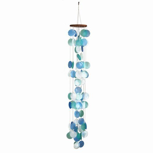 Beautiful Ocean Capiz Windchime Turquoise Green White 42