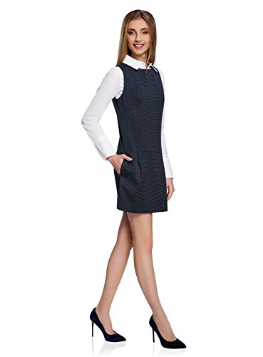 oodji Ultra Mujer Vestido Básico con Bolsillos Azul (7912D)