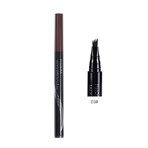 (4 Heads Eyebrow Pencil Waterproof Fork Tip Eyebrow Tattoo Pen Fine Sketch Liquid Eyebrow Enhancer Dye Tint Pen)
