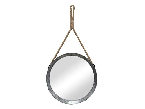 Stоnеbriаr Home Decor Rustic Round Galvanized Metal Mirror with Rope Hanging Loop -