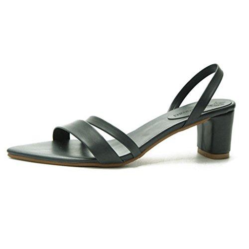 GIY Women's Open Toe Leather Strappy High Heels Sandals Chunky Heel Dress Pump Stilettos Sandal Green ()
