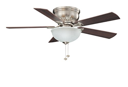 Litex CSU44BNK5C1 Crosley Collection 44-Inch Ceiling Fan with Five Reversible Maple/Walnut Blades and Single Light Kit with Non-Swirl Alabaster Glass