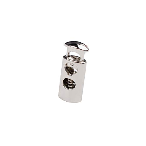 (iHYAO Double Hole Cord Lock End Spring Stop Toggle Stoppers, Metal Cord Locks (Silver,12 PCS) )