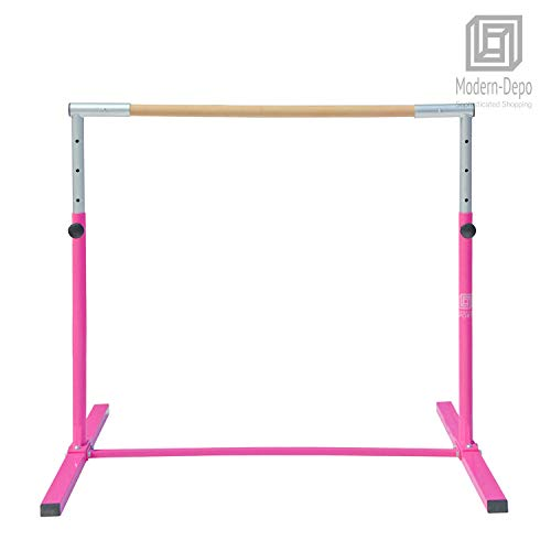 Modern-Depo Junior PRO Gymnastics Kip Bar | Adjustable (3'- 5') Training Horizontal Bar Beech Wood - Pink by Modern-Depo (Image #5)