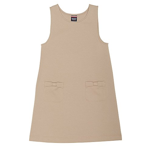 French Toast Big Girls' Bow Pocket Jumper, Khaki, L (10/12) School Uniform Jumper Dress