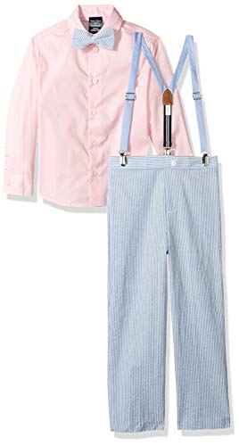 Nautica Boys' Little Set with Shirt, Pant, Suspenders, and Bow Tie, Seersucker Regatta Blue, 7